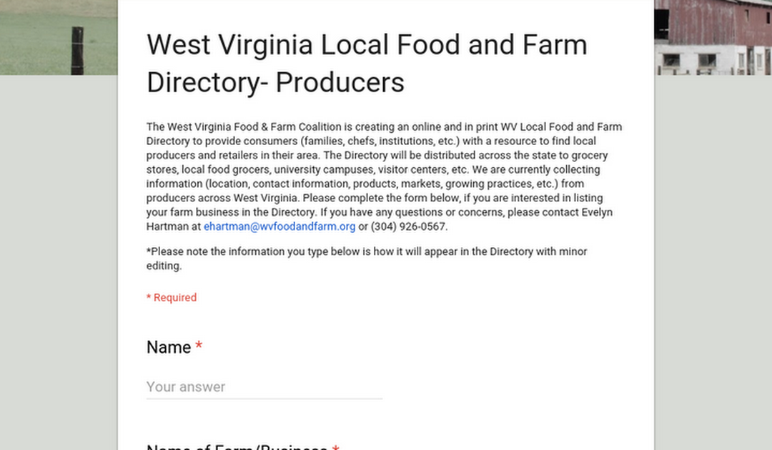 West Virginia Food & Farm Coalition Grower Directory