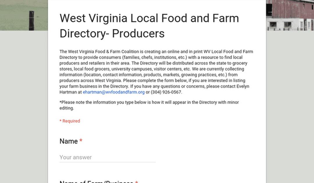 West Virginia Food & Farm Coalition Grower Directory